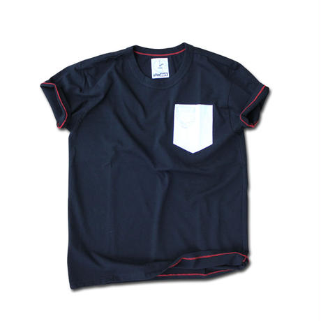 SHORT SLEEVE POCKET PRINT TEE SHIRT with SMALL POCKET BLACK