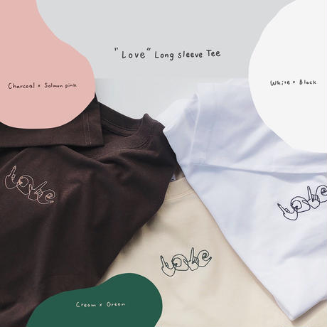 """Love"" Long sleeve Tee(cream)"