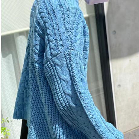 アラン柄サイドリボンニット(ブルー)