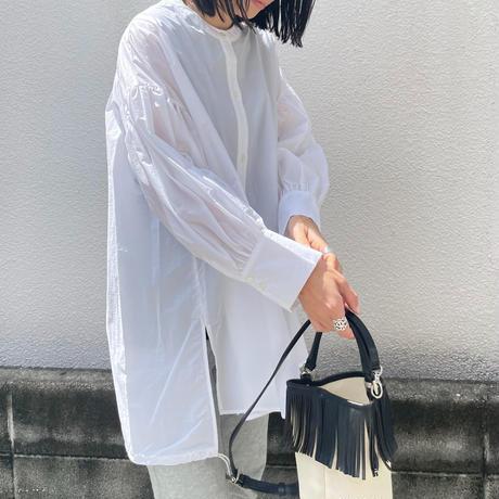 2way裾ドロストシアーボリューム袖ブラウス(ホワイト)