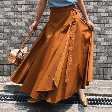 フレアラップスカート(ブラウン)