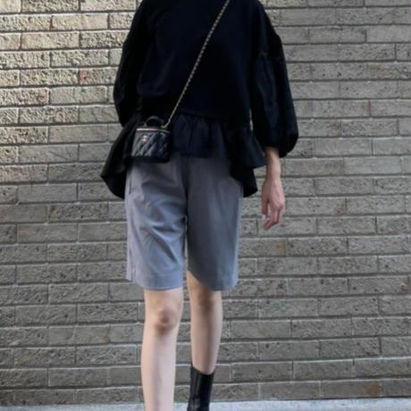 ニットソー×布帛ドッキング7分袖フレアPO(ブラック)