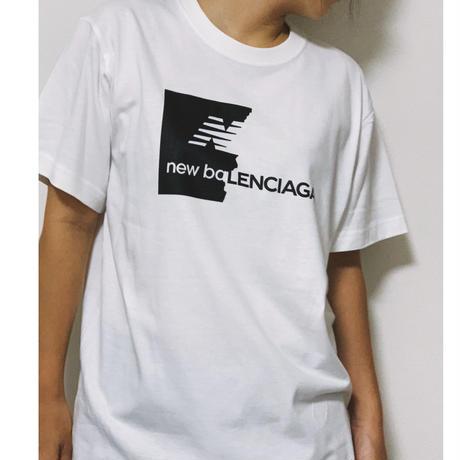 ユニセックスパロディー tシャツ(new baLENCIAGA)ホワイト