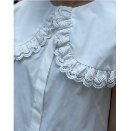 ダブルレースビックカラーノースリーブシャツ