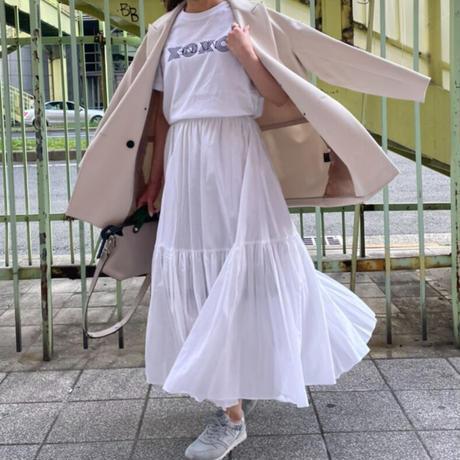 コットン2段ティアードスカート (ホワイト)
