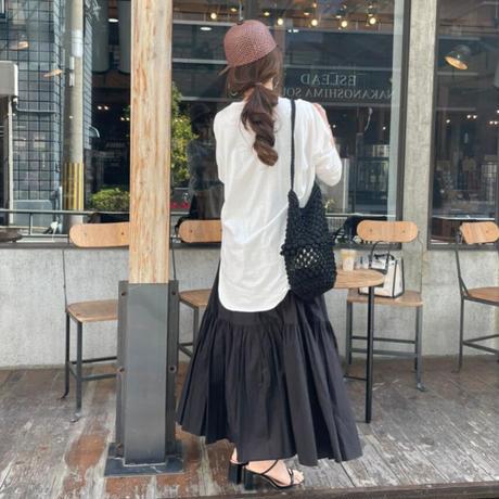 コットン2段ティアードスカート (ブラック)