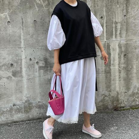 サイド裾リボンベスト(ブラック)