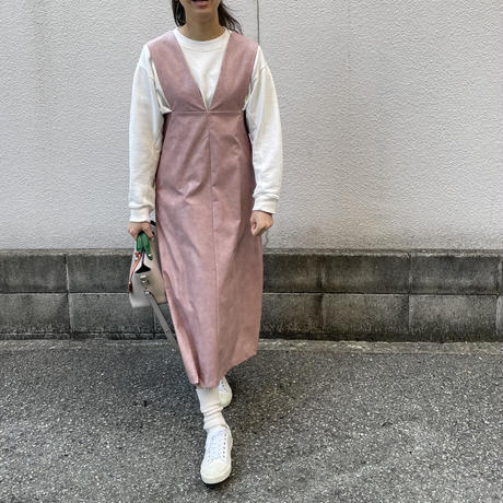 サスペンダーエコレザーワンピース(ピンク)