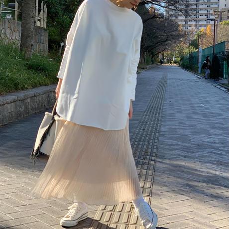 ランダムプリーツシアーミディ丈スカート(アイボリー)