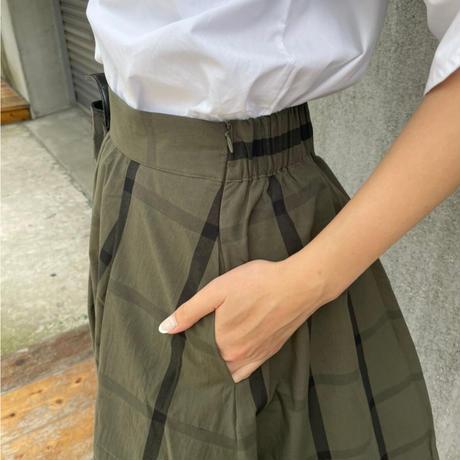チェックメモリフレアスカート (カーキ)