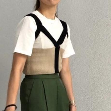 配色ニットキャミ tシャツセット