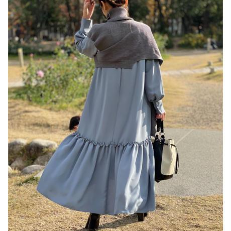 裾ティアードロングワンピース(サックス)