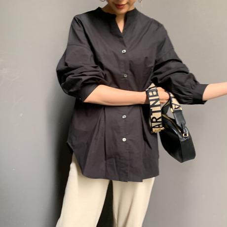 【予約販売】ウェストタックシェイプシャツブラウス(ブラック)