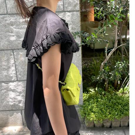 ダブルレースビックカラーノースリーブシャツ (ブラック)
