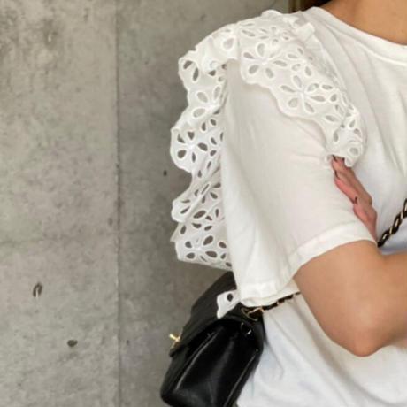ショルダーコットンレースtシャツ(ホワイト)
