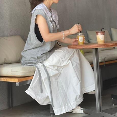 2タックフレアースカート(ホワイト)