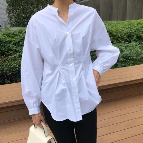 【予約販売】ウェストタックシェイプシャツブラウス(ホワイト)