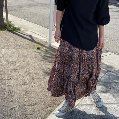 フラワープリントティアードロングスカート