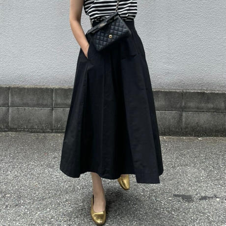 2タックフレアースカート(ブラック)