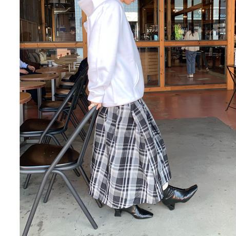 チェックメモリフレアスカート (ブラック×オフ)