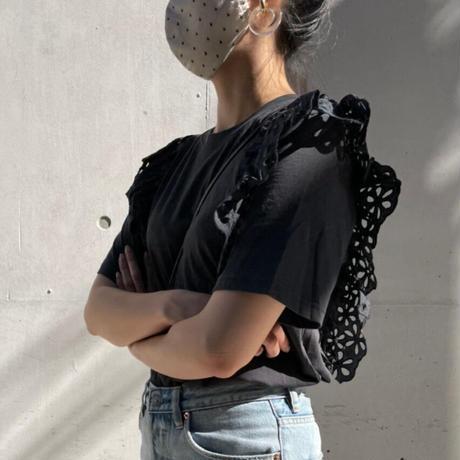 ショルダーコットンレースtシャツ(ブラック)