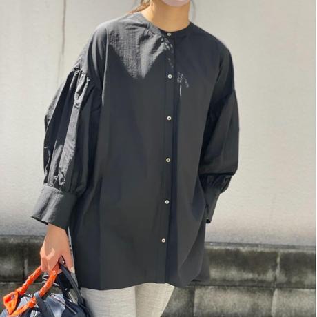 2way裾ドロストシアーボリューム袖ブラウス(ブラック)