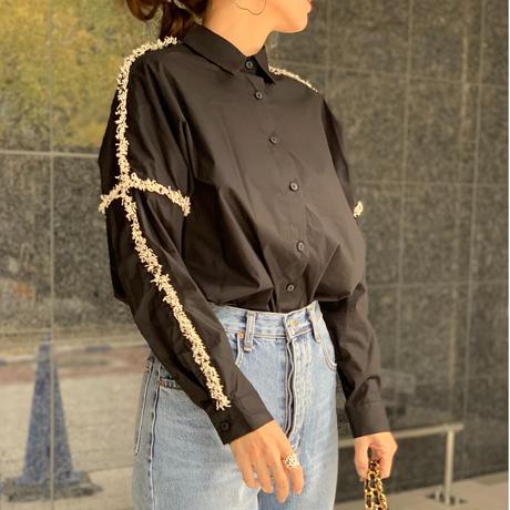 ラインツイードシャツ(ブラック)