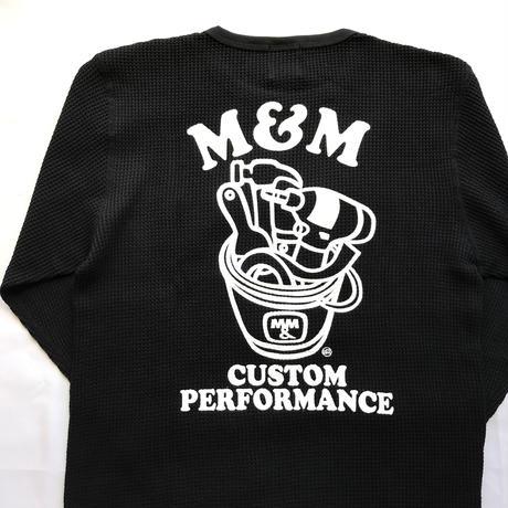 M&M - WAFFLE L/S T-SHIRT 21-MT-023 (BLACK)