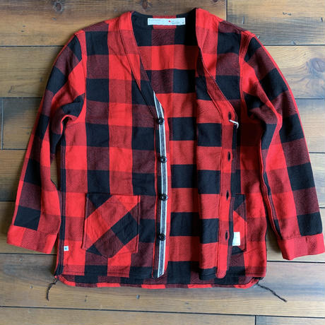 BLUE SAKURA - CLASSIC VINTAGE CHECK CARDIGAN / BS-CD02 【RED】