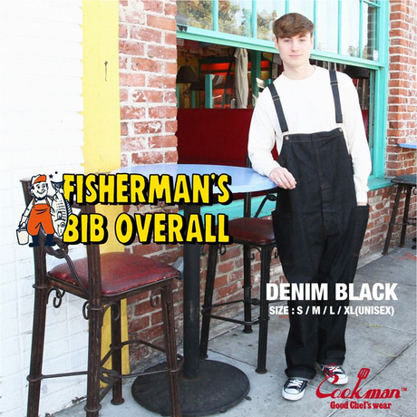 COOKMAN - Fisherman's Bib Overall 「Denim」 Black