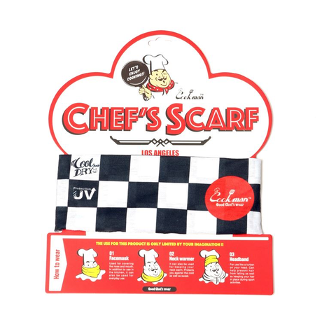 COOKMAN - Chef's Scarf 「Checker」 Black