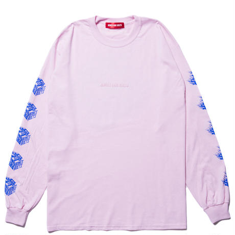 BONES AND BOLTS - L/S TEE (FLAMES BOX LOGO) ピンク
