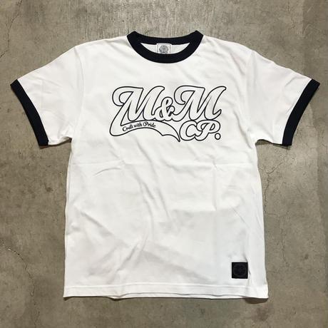 M&M - PRINT S/S TEE MT-019 (WHITE/NAVY)