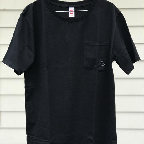 ChahChah - Basic Heart Pocket T-shirts (ブラック)