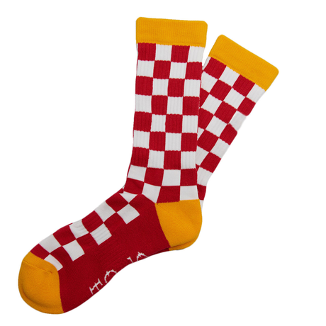 SURF SKATE CAMP - Checker Socks RED