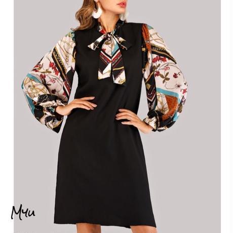 受注発注【Ladies】Tie neck scarf print sleeve dress