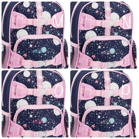 お急ぎ便対応pottery barn【Small】Mackenzie Pink Navy Glow-in-the-Dark Moons Backpack