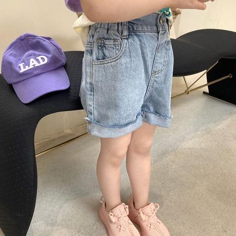 【80-150cm】JEANS カットオフデニムショートパンツ