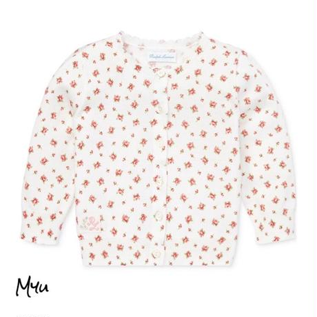 受注発注【50〜85cm】Ralph Polo Lauren Flower cotton cardigan