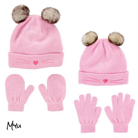 受注発注【Baby〜Kids】carter's 2Piece cat hat&mitten(glove)set