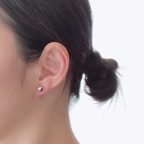 【JEWELRY】EARRINGS ダブルボール2wayピアス/S925+ロジウムコーティング