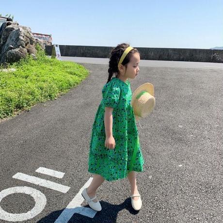 【80-150cm】DRESS パフスリーブ ティアードワンピース