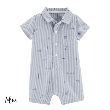 受注発注【70〜90cm】carter's Striped  schiffli button-front rompers
