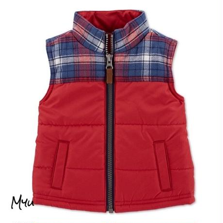 即納🇺🇸【80-90cm】carter's plaid zip-up vest