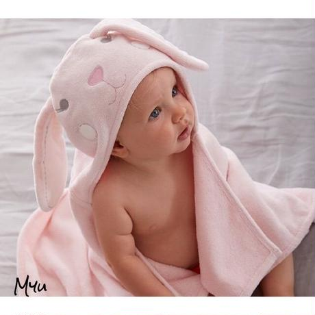お急ぎ便対応pottery barn【BATH WRAP】Bunny nursery bath wrap PINK