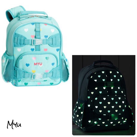 お急ぎ便対応pottery barn【Mini】Mackenzie Aqua Multi Heart Glow-in-the-Dark Backpack