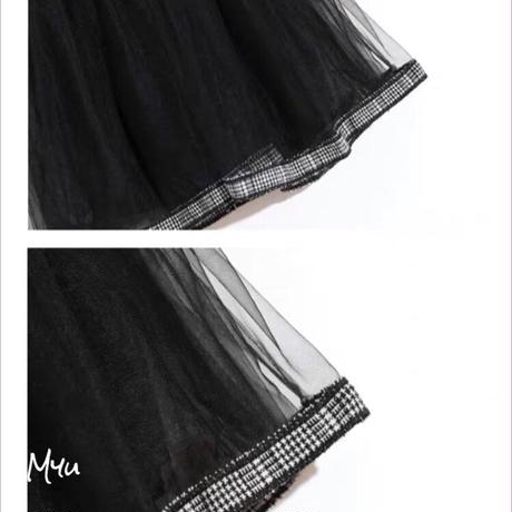 【80〜120cm】Glen check see-through dress