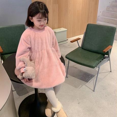 【80-150cm】DRESS フェイクファー ウエスト切り替え ワンピース