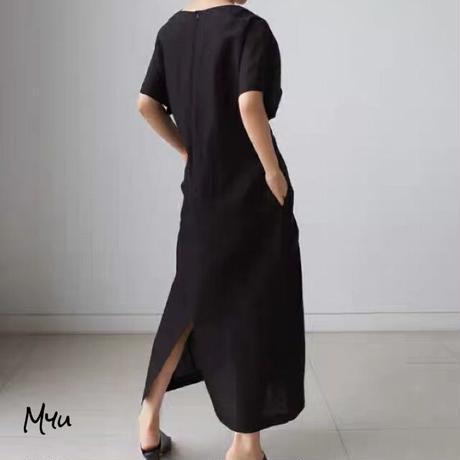 【LADIES】Waist Twist Back Slit Long Dress ウエストツイスト 後ろスリット ロングワンピース