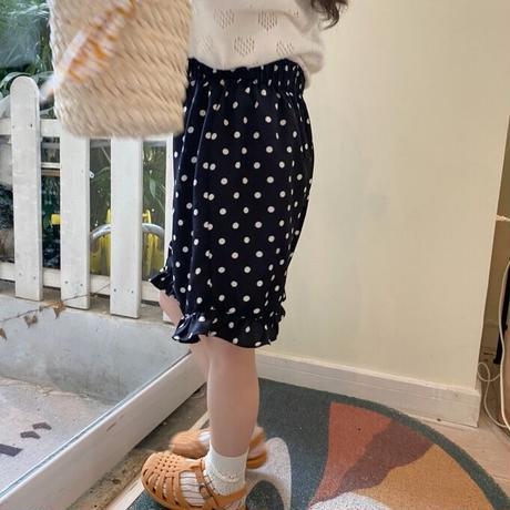 【80-150cm】PANTS ドット柄 裾フリル ハーフパンツ
